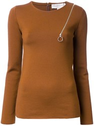 Stella Mccartney Zip Shoulder Detail Jumper Yellow And Orange