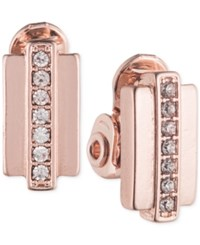 Anne Klein Rose Gold Tone Crystal Button Clip On Earrings