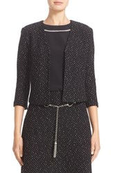 St. John Women's Collection Cavalla Knit Three Quarter Sleeve Crop Jacket