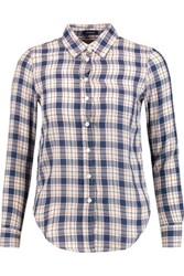 R 13 R13 Baby Checked Cotton And Wool Blend Shirt Blue