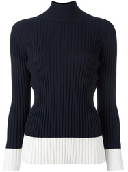 Jil Sander Navy Ribbed Two Tone Turtleneck Jumper Blue
