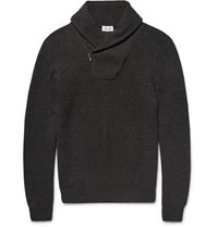 Brioni Shawl Collar Honeycomb Knit Cashmere Sweater Charcoal
