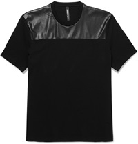 Neil Barrett Faux Leather Panelled Cotton Jersey T Shirt Black