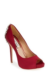 Badgley Mischka Women's 'Kiara' Crystal Back Open Toe Pump Red Satin