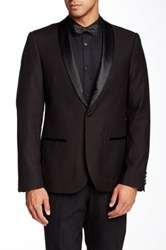 Edge By Wd.Ny Black Pin Dot Single Button Faux Leather Lapel Dinner Jacket