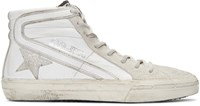 Golden Goose White And Silver Glitter High Top Sneakers