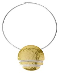 Robert Lee Morris Two Tone Hammered Disc Necklace