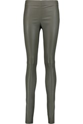 Joseph Leather Leggings Army Green