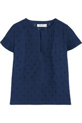 Mih Jeans Broderie Anglaise Cotton Voile Top Blue
