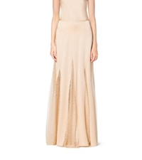 Michael Kors Satin Charmeuse And Chantilly Lace Maxi Skirt Nude