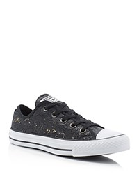 Converse Chuck Taylor All Star Ox Sequin Lace Up Sneakers Black Gold
