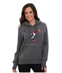 Roper Embroidered Skull Patriotic Hoodie Grey Women's Sweatshirt Gray