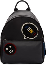 Fendi Black Shearling Patches Backpack