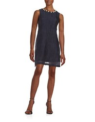 Taylor Beaded Textured Shift Dress Navy