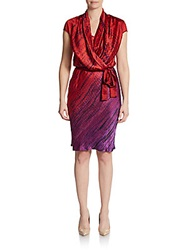 Josie Natori Printed Silk Mock Wrap Dress Red Multi