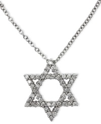 Macy's Effy Pave Diamond Star Of David Pendant Necklace In 14K White Gold 1 4 Ct. T.W.