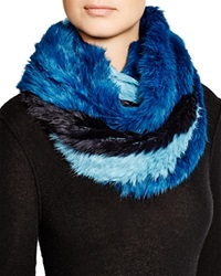 Jocelyn Striped Rabbit Fur Infinity Scarf