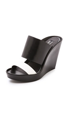 Rachel Zoe River Wedge Mules Black White