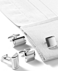 Kenneth Cole Reaction Brushed Cufflinks Silver Square