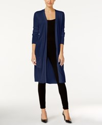 Joseph A Open Front Duster Cardigan Evening Blue