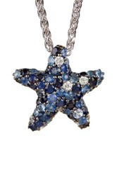 Effy Sterling Silver Pave Sapphire Starfish Pendant Necklace Multi