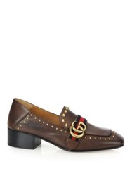 Gucci Peyton Studded Leather Loafers Brown