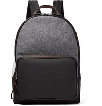 Berluti Time Off Rubberised Leather And Flannel Backpack Gray