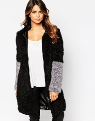 Urbancode Curly Faux Fur Coat With Contrast Cuffs Blacksmoke