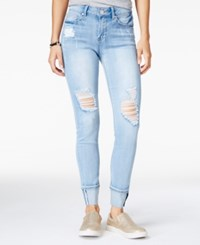 Indigo Rein Juniors' Ripped Selvedge Cuffed Skinny Jeans Light Blue