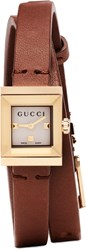 Gucci Gold And Brown G Frame Watch