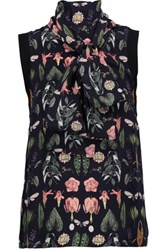 Mother Of Pearl Lillian Pussy Bow Printed Silk Top Black