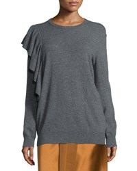 Elizabeth And James Orly Ruffle Trim Pullover Sweater Charcoal
