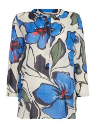 Marella Trudy Floral Long Sleeve Blouse Blue