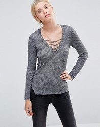 Brave Soul Tie Front Knitted Top Black Grey Marl