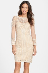 Js Collections Soutache Mesh Sheath Dress Champagne