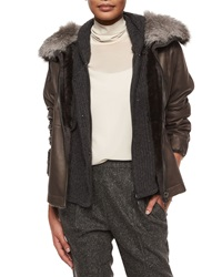 Brunello Cucinelli Reversible Shearling Coat With Fox Fur Collar