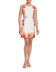 Calvin Klein Floral Print Sheath Dress White Multi