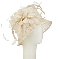 John Lewis Lin Feathers Occasion Hat Chamapagne