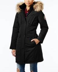 Madden Girl Faux Fur Trim Hooded Parka Black