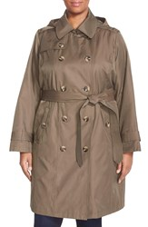London Fog Double Breasted Trench Coat Plus Size Fatigue