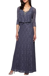 Alex Evenings Petite Women's Embellished Lace Gown And Jacket