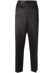Comme Des Garcons Contrasting Band Straight Trousers Black