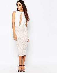 Hedonia Caprice Keyhole Pencil Dress In Lace Ivory