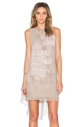 Halston Asymmetrical Sleeve Mini Dress Gray