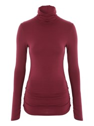 Jane Norman Long Sleeve Turtle Neck Jersey Top Berry