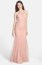 Women's Amsale One Shoulder Tulle Mermaid Gown Blush