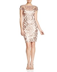 Tadashi Shoji Sequined Lace Illusion Dress Dusty Rose