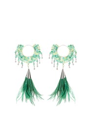 Rosantica By Michela Panero Faggio Quartz And Feather Earrings Green Multi