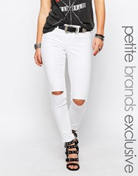Noisy May Petite Devil Busted Knee Skinny Jean White