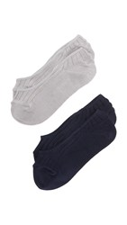 Madewell Heathered No Show Sock Set Grey Navy
